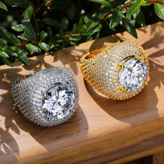 Mens Flooded Ice First Class 18k Gold .925 Silver Center Stone AAA Micro Pave Iced Rings