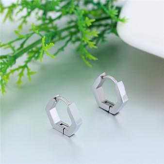 Solid Stainless Steel 14k Gold Silver Black Geo Shape Huggie Bling Earrings