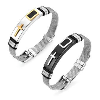 Mens 14k Gold Silver over Stainless Steel Cross Adjustable Bracelet