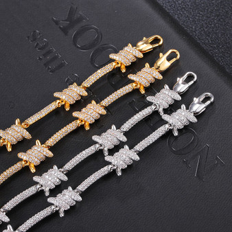 Mens Iced White Gold 18k Barbed Wire Hip Hop AAA Micro Pave Stone Bracelet