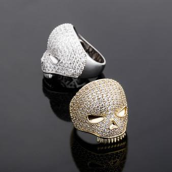 New Ice 14k Gold 925 Silver Hip Hop Handset 4 Prong Skull Rings