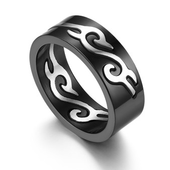 Men's Black Solid Stainless Steel Totem Pattern Casual Fashion Rings