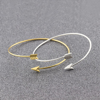 18k Gold Silver Rose Gold Over Solid Stainless Steel Bangle Arrow Cuff Bracelets