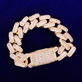 Mens Bling 24k Flooded Ice 20MM Baguette Miami Cuban Link Hip Hop Bracelet Chain
