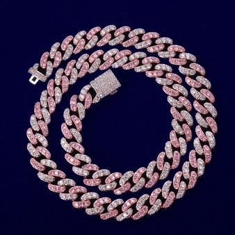 Rose Gold .925 Silver Miami Cut Cuban Link 10mm Hip Hop Micro Pave Stone Bling Chain
