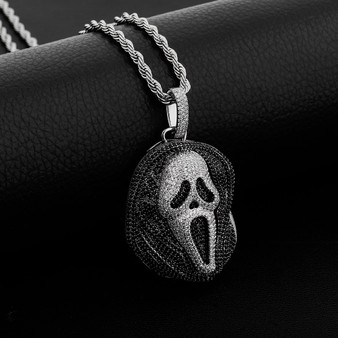 New Fashion Flooded Ice Dead Zone Scream Mask Hip Hop Pendant Chain Necklace