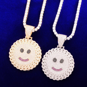 18k Gold 925 Silver Flooded Ice Smiley Face Hip Hop Pendant Chain Necklaces