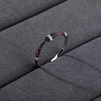 18k White Gold Over 925 Sterling Silver Iced Snake Crystal Circle Ring