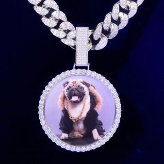 2021 Flooded Ice Big Button Photo Picture Photo Medallion Hip Hop Pendant Chain Necklace