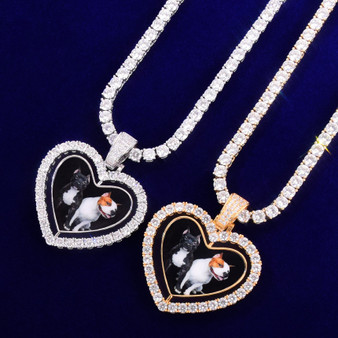 18k Silver Rose Gold Custom Made Rotating Double-Sided Rotating Heart Bling Necklace