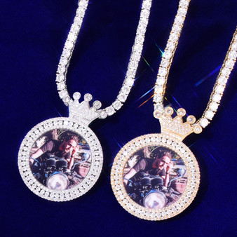 Customized Kings Crown Photo Picture AAA True Micro Pave 18k Gold 925 Silver Pendant Necklace