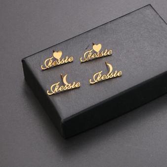 Custom Stainless Steel Heart Moon Star 14k Gold Platinum Rose Gold Bling Earrings