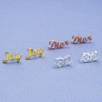 Custom Personalized Platinum Rose Gold 14k Letter Initial Name Earrings