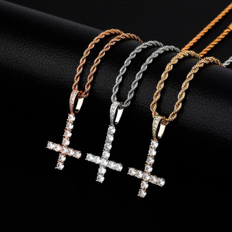 Mens Rose Gold 14k 925 Silver Cluster Stone Upside Down Single Peter Cross Pendant