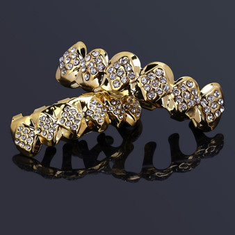 14k Gold Flooded Simulated Diamond Ice Hip Hop Teeth Tooth Grillz Top Bottom Set