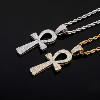 Key Of Life Ancient African Egyptian Ankh Cross Hip Hop Pendant chain Necklace