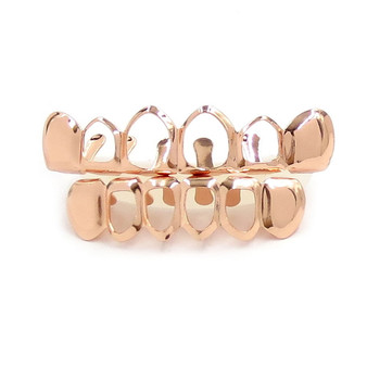 14k Silver Rose Gold Black Hematite Open Face Hip Hop Full mouth Grillz Teeth Gills