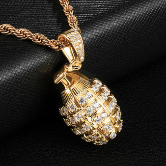 Flooded Ice 14k Gold Hip Hop Grenade Pendant Chain Necklace