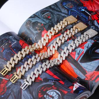 True Micro Paved Flooded Ice Big Box Clasp 20mm Miami Cuban Link Hip Hop Bracelets