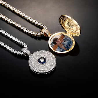 All Seeing Eye Flooded Ice Hip Hop Photo Picture Pendant Micro Pave Chain Necklace