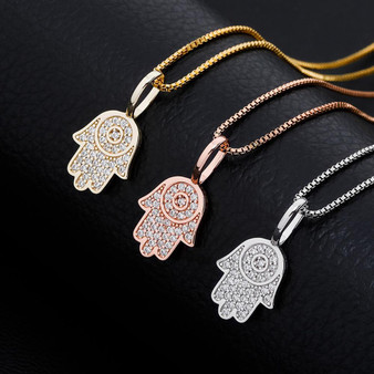 14k Rose Gold Over Sterling Silver Flooded Ice Hamsa Hand Bling Pendant Chain Necklace