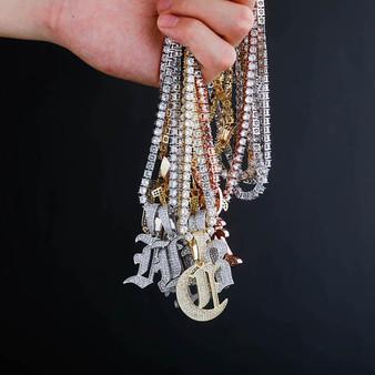 Old English 14k Rose Gold 925 Silver Hip Hop Street Rock Bling Initial Pendants