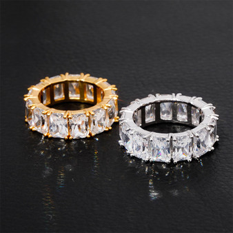 Mens Bling Flooded Ice Hip Hop 1 Row Solitaire Baguette Tennis Rings