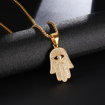 14k Gold over Stainless Steel Flooded Ice Hamsa Hand Pendant Chain Necklace