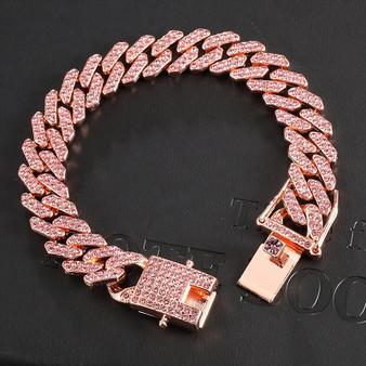 Hip Hop 12MM Paved Pink Rose AAA Flooded Ice Miami Cuban Link Bracelet