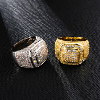 Big Boy Baller Hip Hop Flooded Ice Square Dome Two Tier Hip Hop Rings