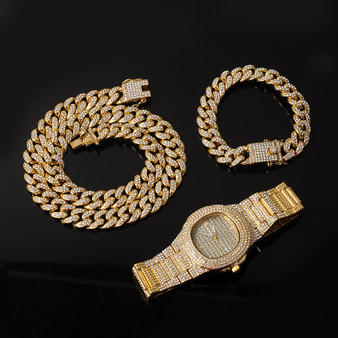 14k Gold 925 Silver Flooded Ice Miami Cuban Link Necklace Watch Bracelet Jewelry Set
