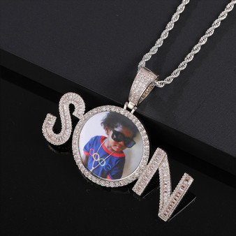 Custom Flooded Ice Baguette 2 Letters Son Hip Hop Picture Photo Pendant Chain Necklace