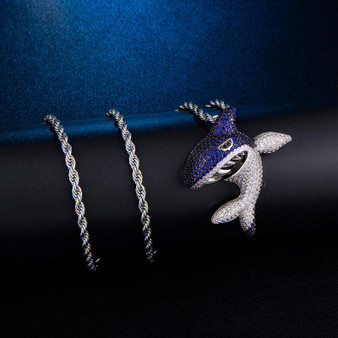 True Micro Pave Flooded Ice Fighting Blue Shark Hip Hop Pendant Chain Necklace