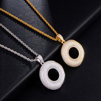 Crazy Iced 14k Gold 925 Silver Glazed Doughnut Hip Hop Pendant Chain Necklace