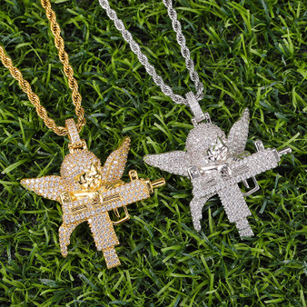 Flooded Ice Uzi Machine Hip Hop Guardian Angel Bling Pendant Chain Necklace