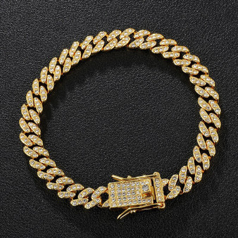 Keep It Classic 8MM Miami Cuban Link AAA Prong Set 14k Gold 925 Silver Rose Gold Bling Bracelet