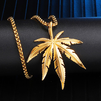 14k Gold Over Stainless Steel Hip Hop Weed Maple Leaf Chronic Bling Pendant