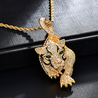 14k Gold over Titanium Stainless Steel Tiger Hip Hop Pendant Chain Necklace
