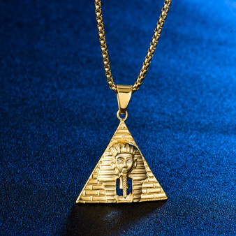 14k Gold over Stainless Steel African Pharaoh Pyramid Hip Hop Pendant