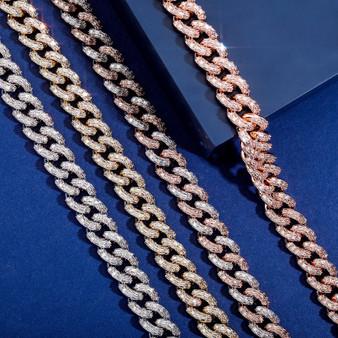 Hip Hop 16mm Miami Cuban Flooded Ice Baguette Micro Pave Set Chain Necklace