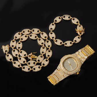 Flooded Ice Coffee Bean Hip Hop 14k Gold 925 Silver Watch Chain Bracelet Combo Set