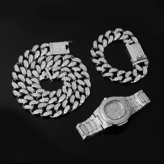 14k Rose Gold 925 Silver Big Boy 20mm Cuban Link Bracelet Watch Chain Necklace Combo Set