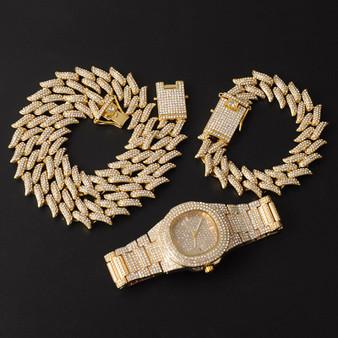 Crown Of Thorns Hip Hop 19MM Flooded Ice 3pcs Watch Necklace Bracelet Combo Set It Off Set