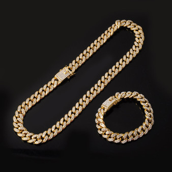 Hip Hop 13mm Fully Iced Paved Miami Cuban Link Chain Bracelet Fire Stater Combo