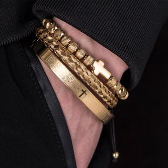 Mens Luxury 14k Gold Stainless Spanish Prayer Cross Hip Hop Beads Bracelet Set