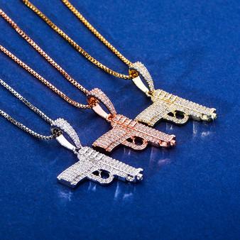 Ride or Die Hip Hop 925 Sterling Silver Rose Gold 14k Hip Hop Gun 380 Pistol Bling Pendant