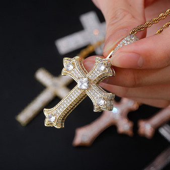 Ancient Of Days 14k Yellow White Rose Gold Princess Cut Flooded Ice Hip Hop Cross Pendant
