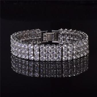 Silver 3 Row Diamond Cz Pharaoh Bling Bracelet