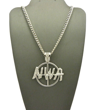 NWA Target Hip Hop Pendant Chain Necklace Silver