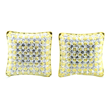 Mens Iced Out Yellow Silver 9.5mm Cz Domed Earrings